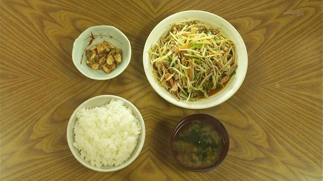 東京都清瀬市のもやしと肉のピリ辛イタメ「みゆき食堂」